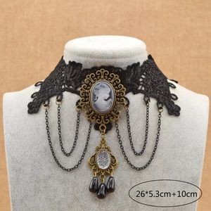 Cameo Lace, Chains & Beads Punk Goth Necklace